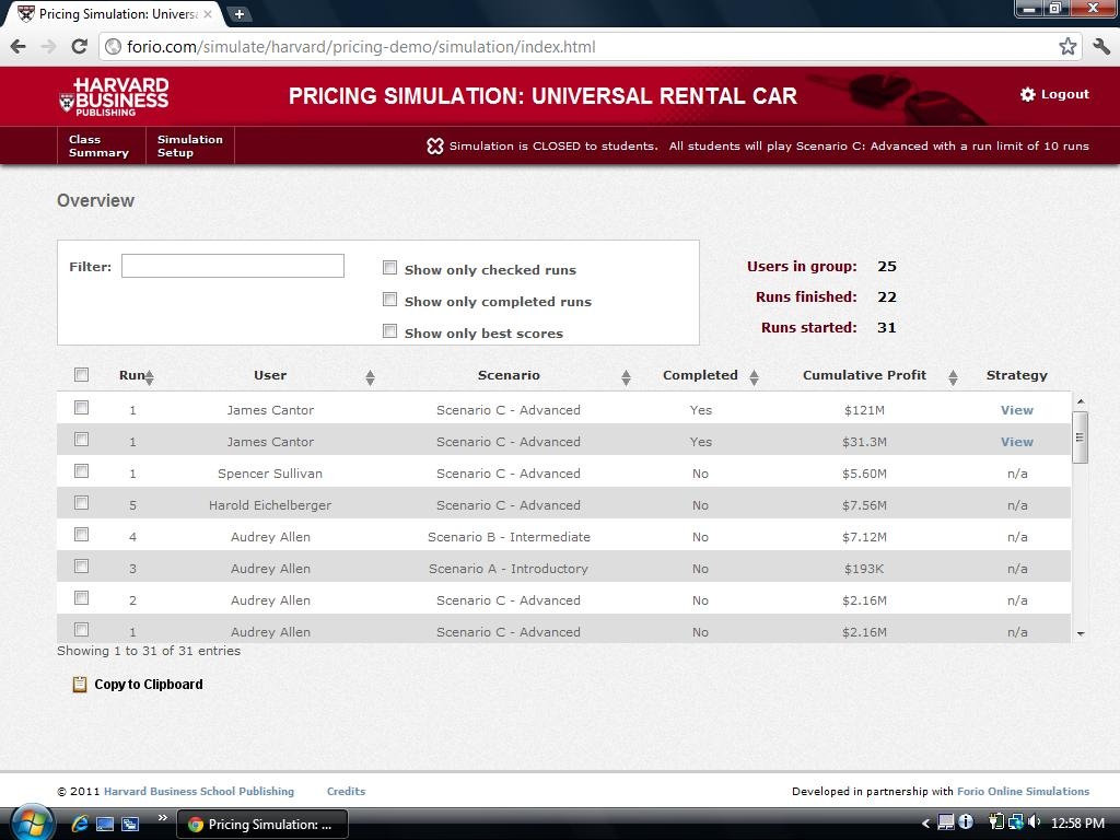 universal rental car pricing simulation