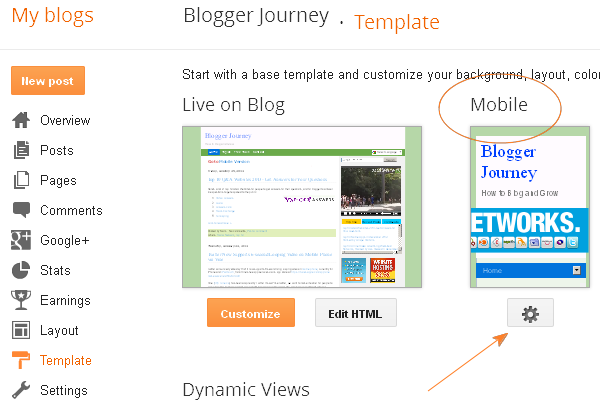 (Screenshot) Template options in Blogger, from dashboard