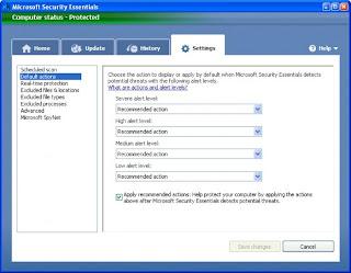 Seccurity essential setting screen Shot