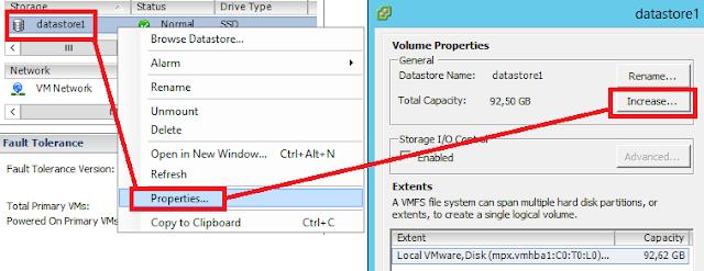 VSphere client, amplicar datastore