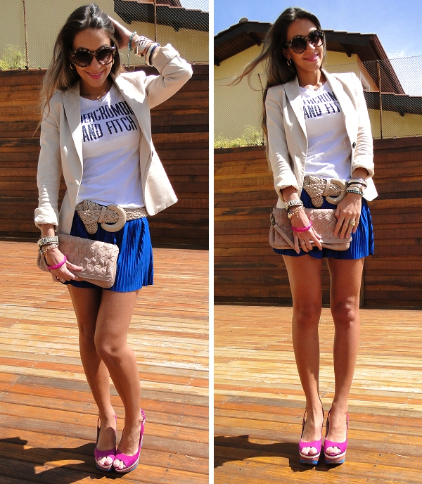 saia plissada com blazer salto anabela 03 Look do dia   Anabela color block ...