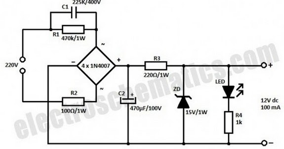 how to build transformerless power supply 12v 100ma using