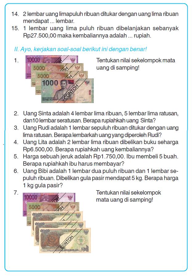 Kumpulan Soal Matematika Soal Ulangan Harian Matematika Kelas 3 Sd Quot Masalah Yang Melibatkan Uang Quot