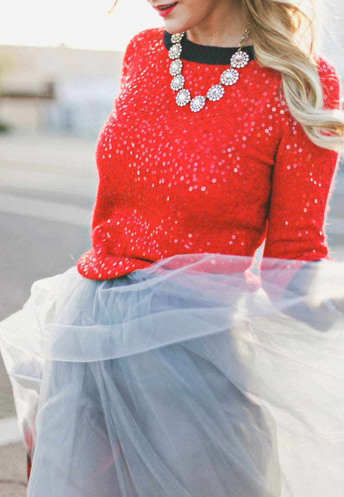Christmas, Holidays, Tulle, Alexandra Grecco, J.Crew, Grey, Midi, Skirt, Glitter, Kate Spade, Bow, Heels, Pumps, Buffalo, Checkered, Coat, Jacket, Red, Sequin, Sweater, Cupcake Necklace, Crystal, Red Lips, Stila, Beso, Fashion Blog, Christmas 2015