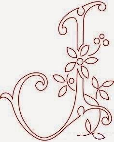 J flower calligraphy monogram tattoo stencils