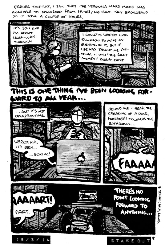 Comic strip where Alex stays up late to finally watch the Veronica Mars movie, but flatulence ruins the moment