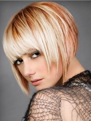 Taglio di capelli corti con frangetta