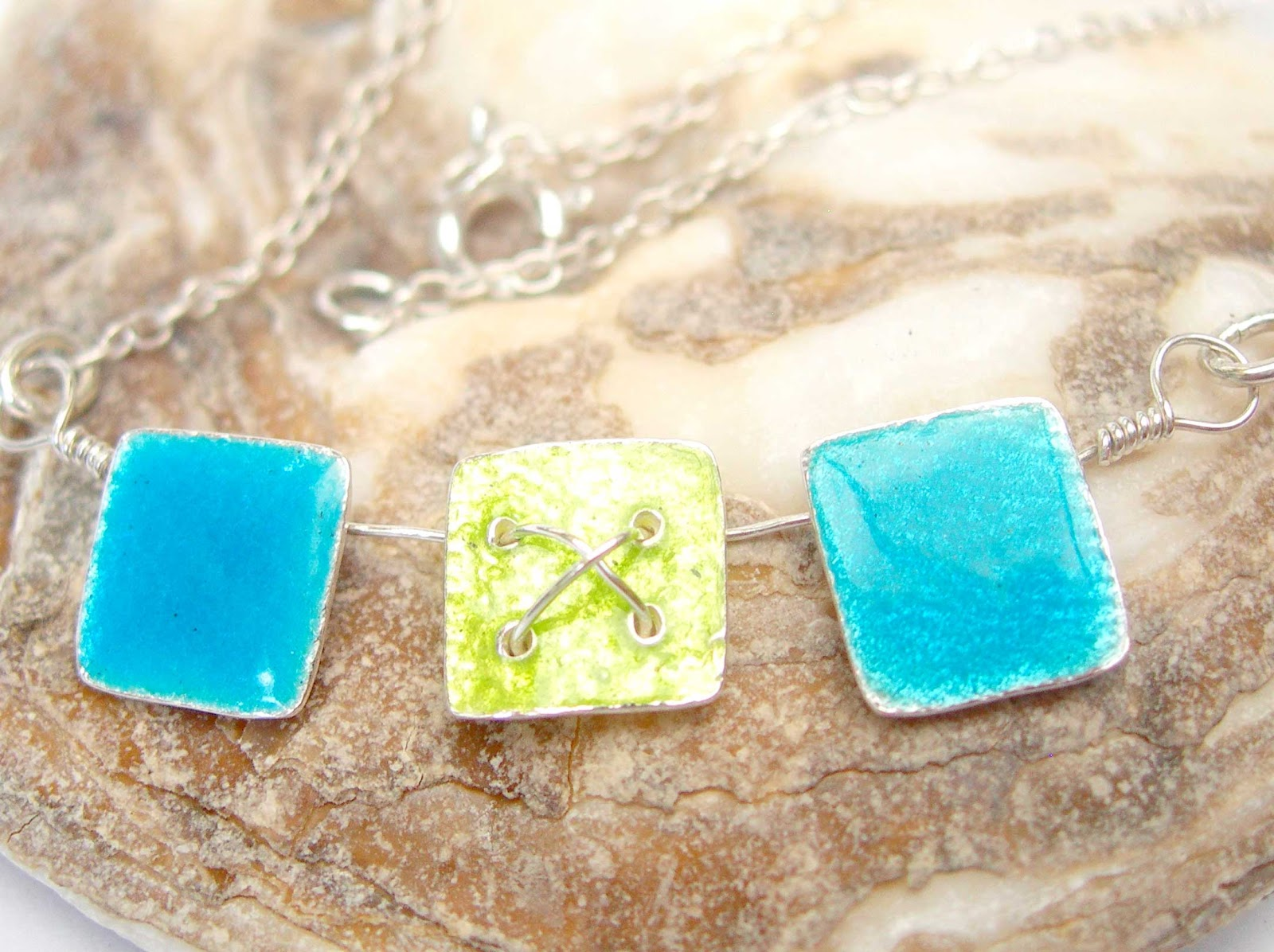 Enamelled Silver Kiss in a Box Necklace in Turquoise and Lime