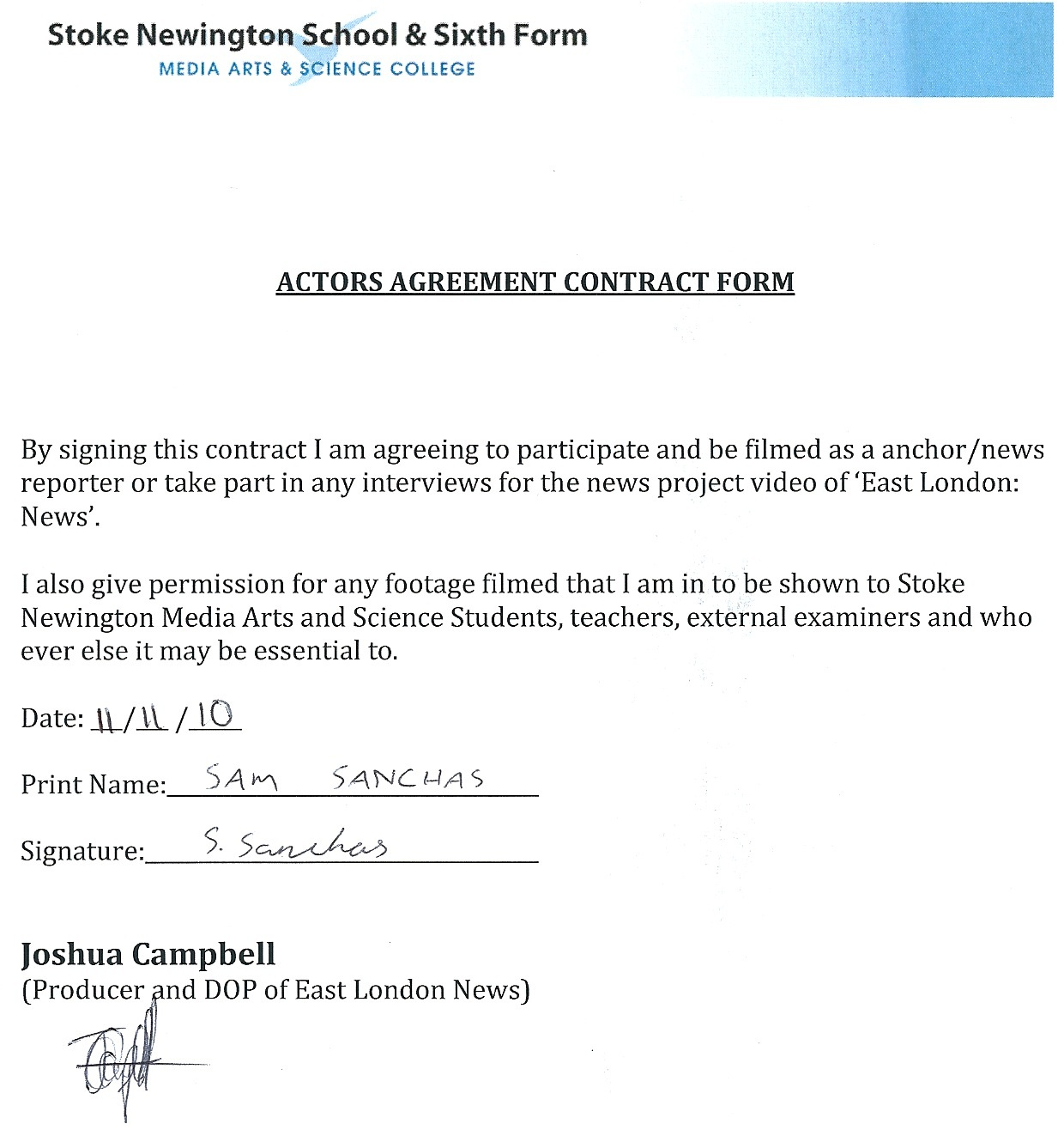 Joshuacampbella2mediaproduction 545 Actors Agreement Contract