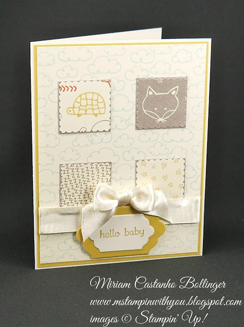 Miriam Castanho-Bollinger, #mstampinwithyou, stampin up, demonstrator, mm, baby card, sweet li'l things dsp, teeny tiny wishes stamp set. big shot, big shot, lots of labels framelits, su