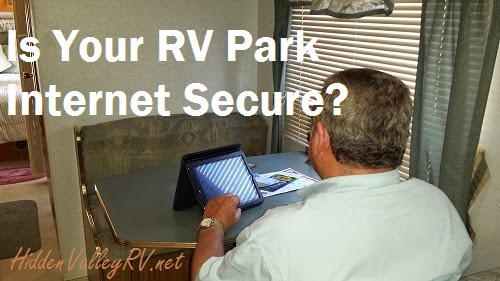 RVer using the Wifi in his RV