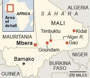 Mali showing Mbera.