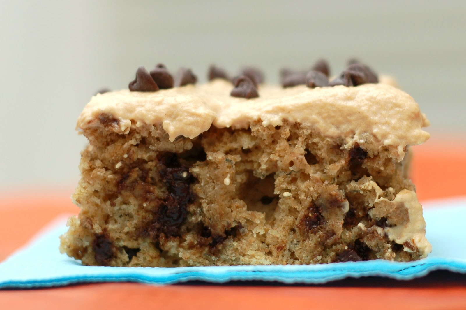 Peanut Butter Frosted Chocolate Chip Banana Cake - A Kitchen Addiction