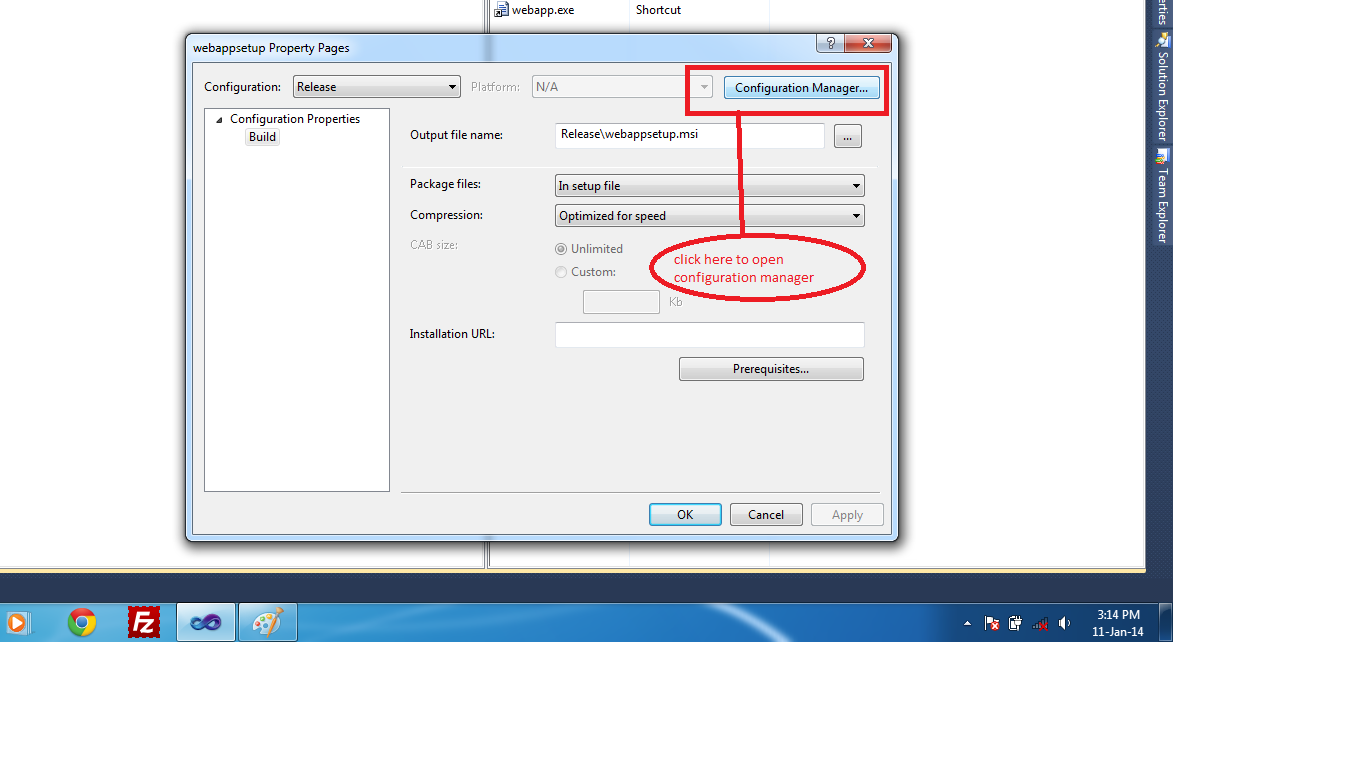 configuration manager in vs 2010