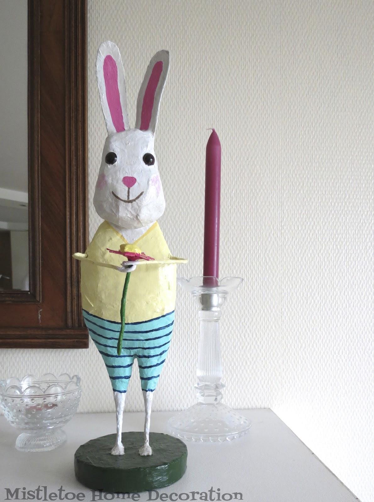 Mistletoe Home Designs: Papier mâché Easter bunny figurine