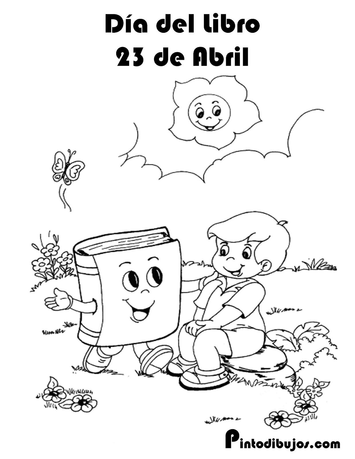 D a del libro para colorear 23 de abril para imprimir
