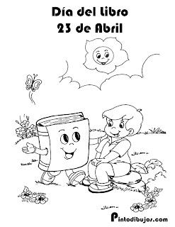 Día del libro para colorear 23 de abril para imprimir