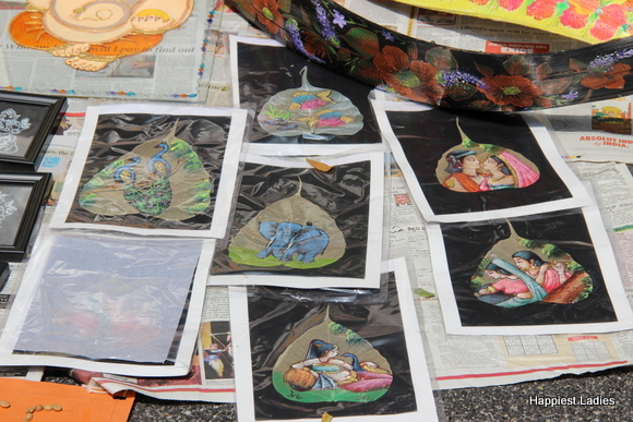 paintings on dried leaves