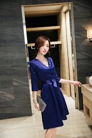 Blue Half Sleeve Silky V-Wrap Dress