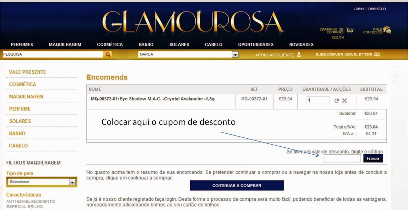 CUPOM VÁLIDO PARA GLAMOUROSA