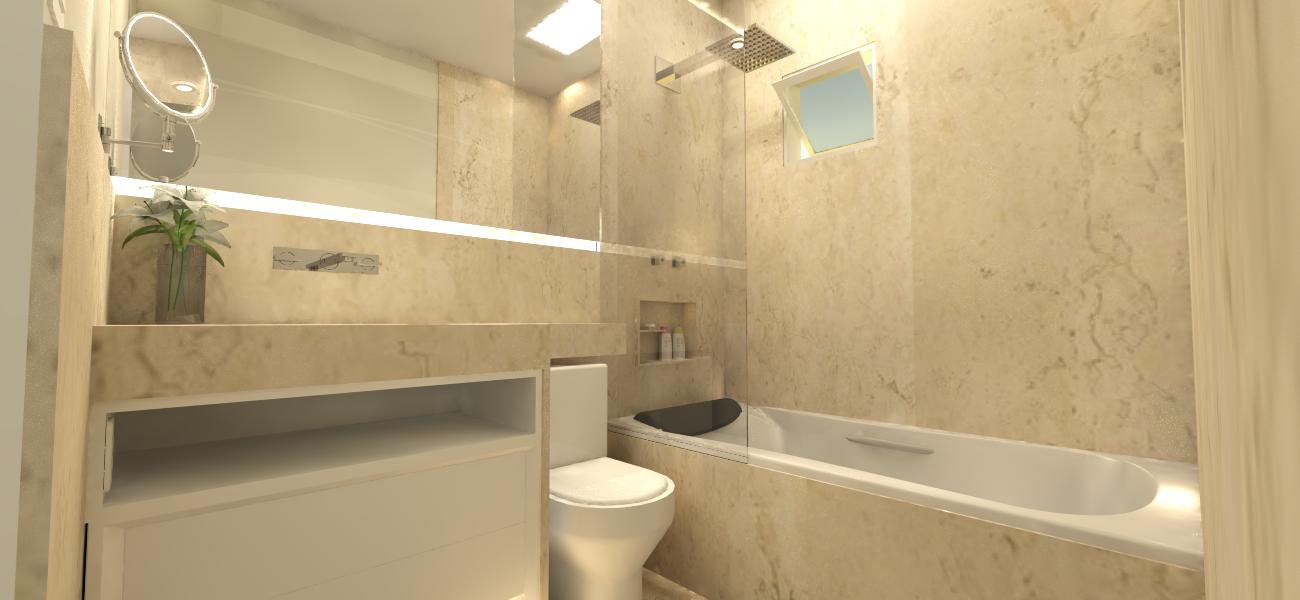 Suíte Master O sonho do banheiro em Travertino -> Cuba Banheiro Travertino