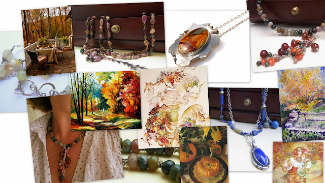 #autumn collage of paintings, #jewelry by #akvjewelry, and photos