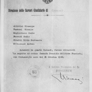 Dichiarazione della direzione delle carceri di Cremona