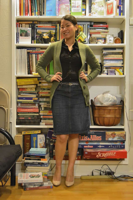 sacramento office fashion blogger angeline evans the new professional blog business casual friday denim skirt ann taylor mossimo sweater enzo angiolini nude pumps patent j.crew skinny belt