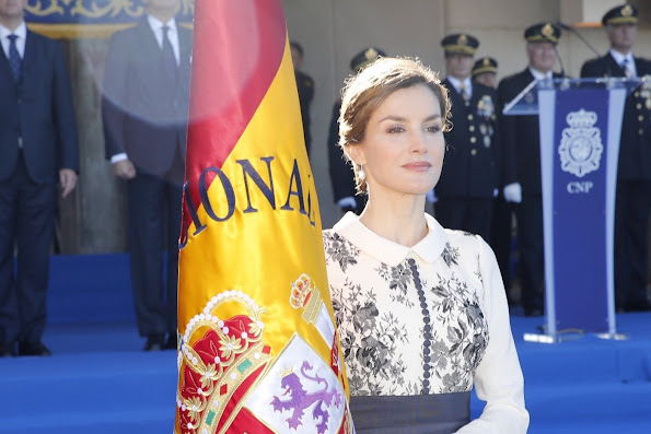Queen Letizia of Spain delivers spanish flag to National Police at National Police School Headquarters