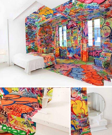 Colorido dormitorio graffiti fotos de dormitorios - Graffitis para habitaciones ...