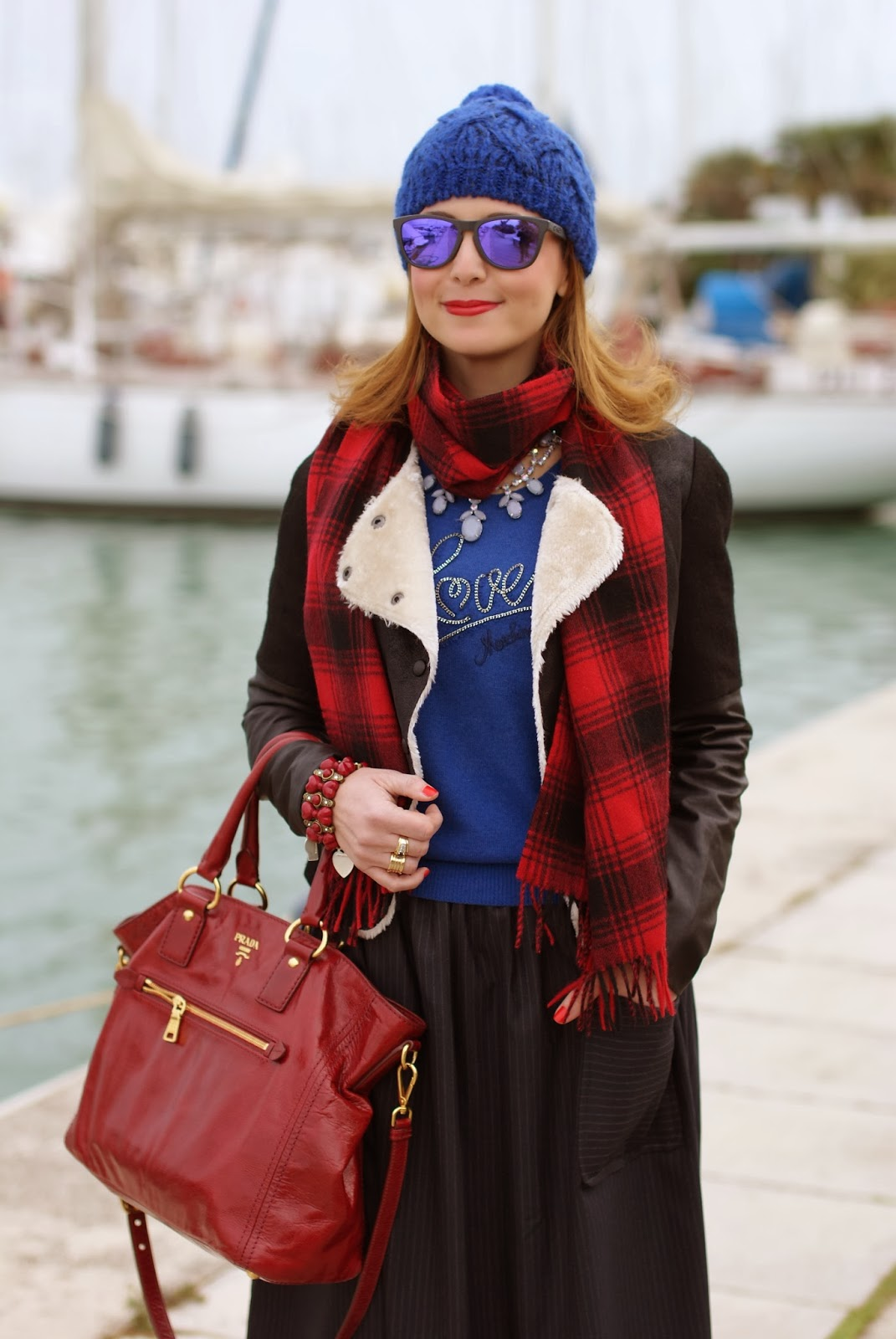 cobalt blue beanie, fake shearling jacket, Love Moschino sweater, pinstripe midi skirt, Fashion and Cookies, fashion blogger