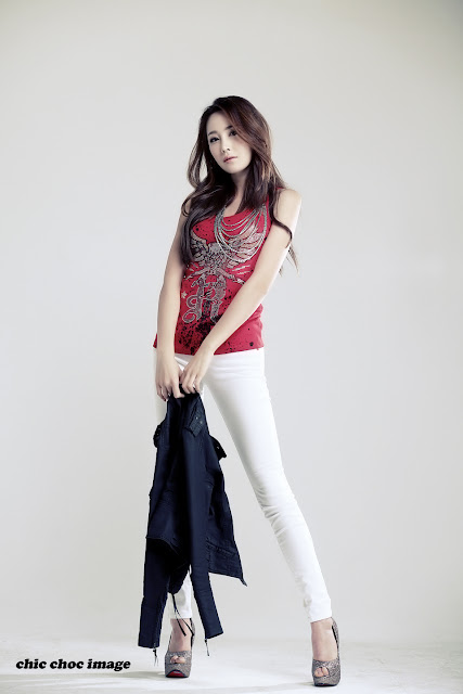 Model Eun Bin in Red Top, White Jeans