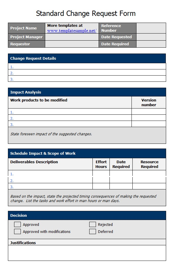 Standard Change Template  BesikEightyCo
