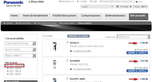 e-Shop Panasonic - strane classi di prezzi