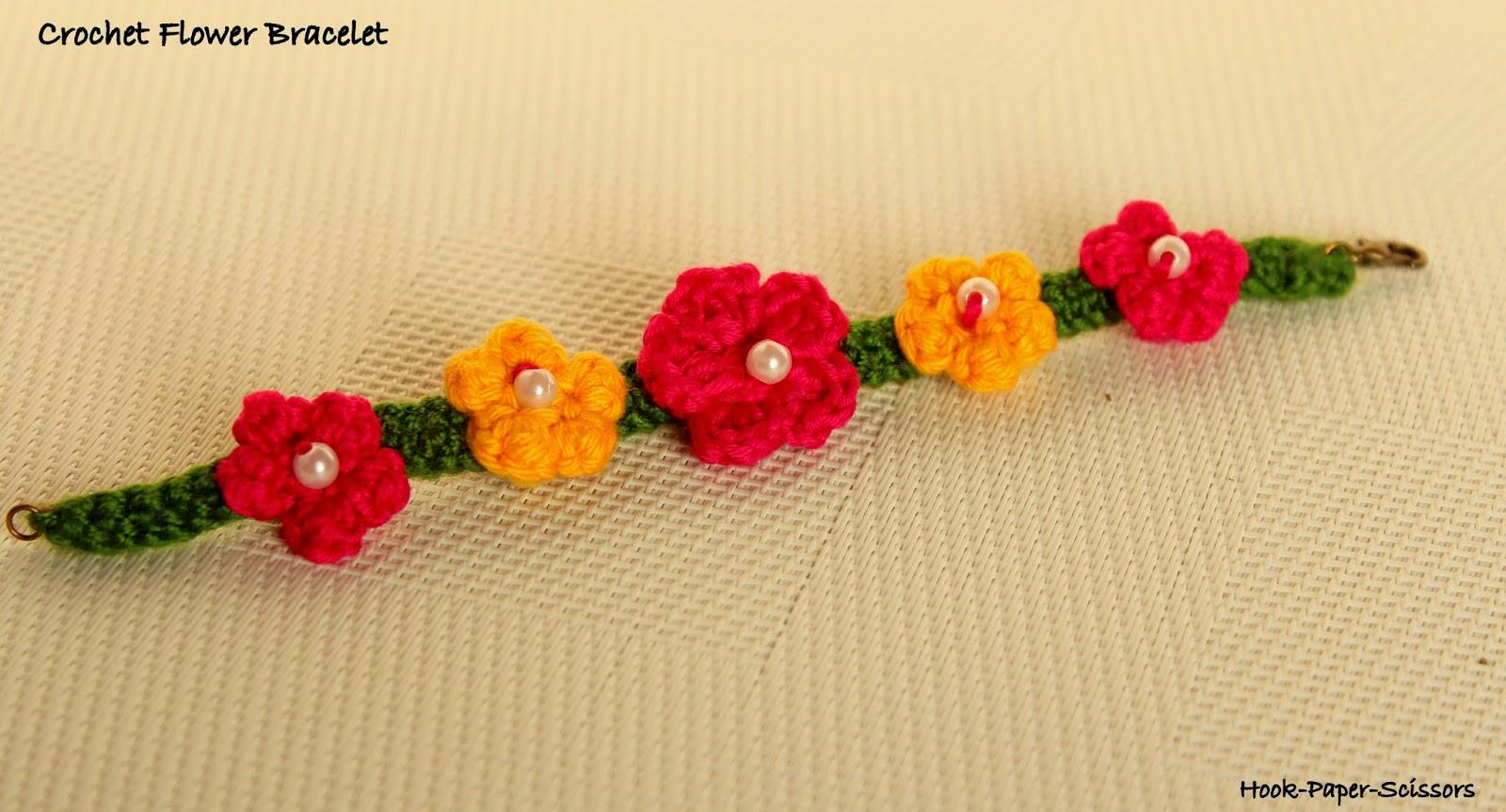 Hook Paper Scissors Crochet Flower Bracelet