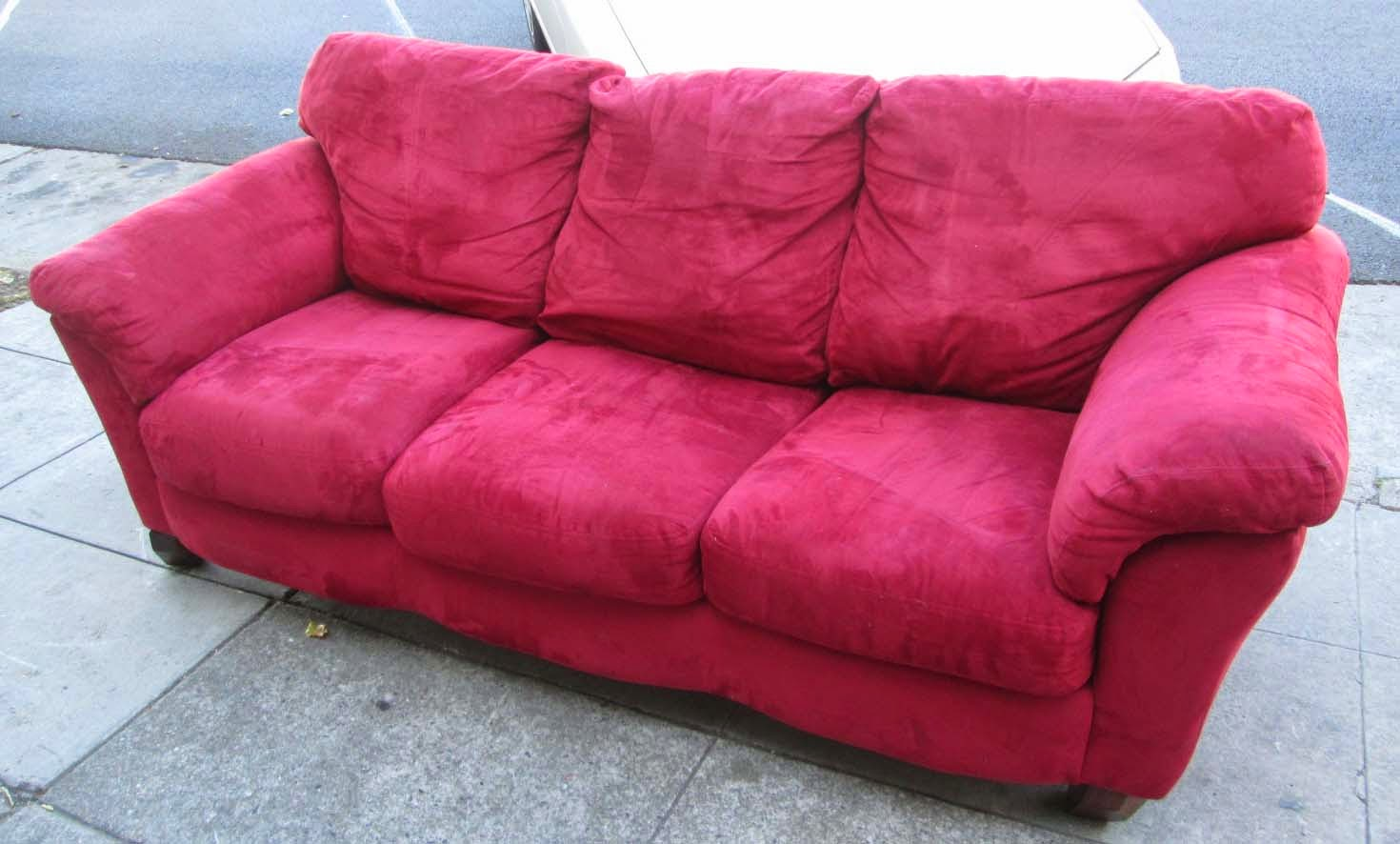 Uhuru Furniture Collectibles Sold Red Microfiber Sofa 80