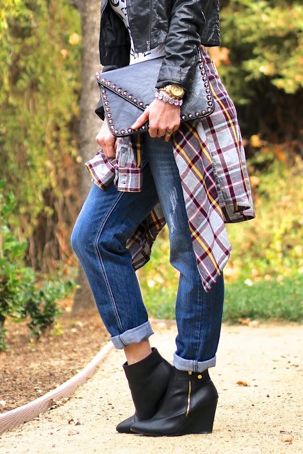 tartan and studded clutch