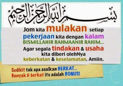 mulakan dengan Bismillahirahmanirahim..
