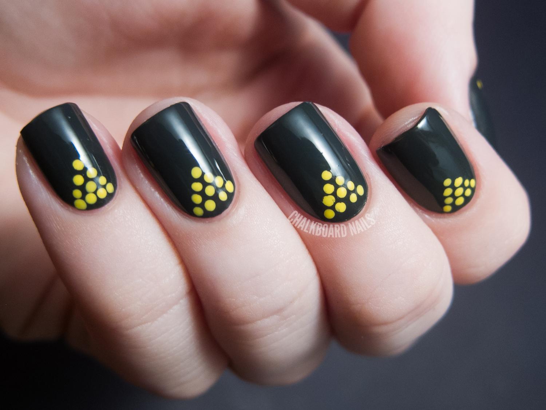 31dc2012 Day 11 Polka Dots Chalkboard Nails Nail Art Blog