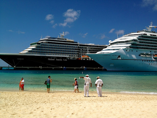 Holland America and Carnival cruise ships in port at Grand Turk