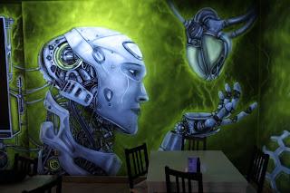 Malowanie obrazu w kawiarni lluburger w Łukowie, aranżacja ściany