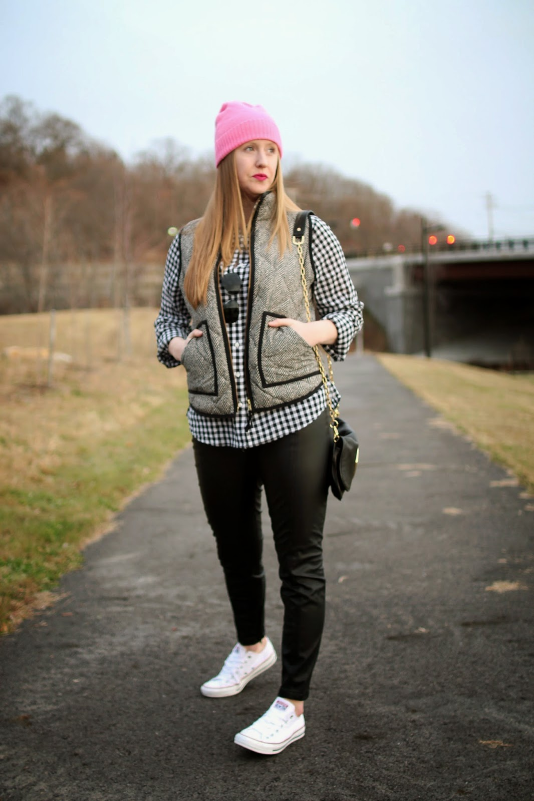 boston style blogger, black and white layers, on the blog, herringbone j.crew vest, gingham shirt, chuck taylors,
