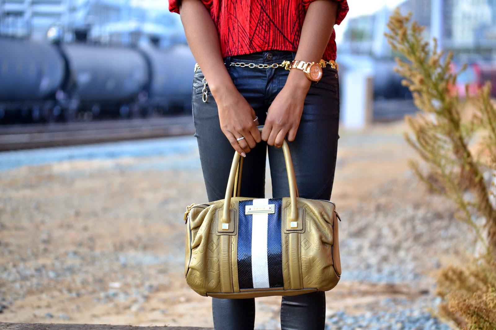 Red Leopard Outfit Details L.A.M.B bag