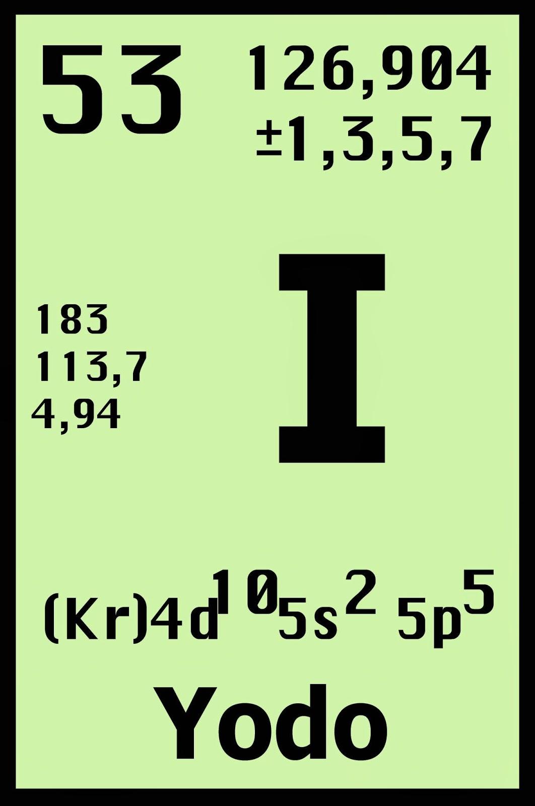 El yodo el yodo en la tabla periodica configuracin electrnica kr 4d10 5s2 5p urtaz Image collections
