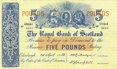 Five pounds Royal Bank of Scotland notes banknotes