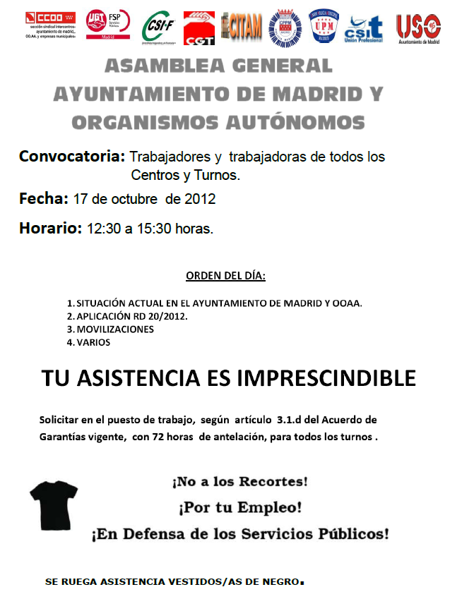 Cgt agencia para el empleo asamblea general de for Agencia de empleo madrid