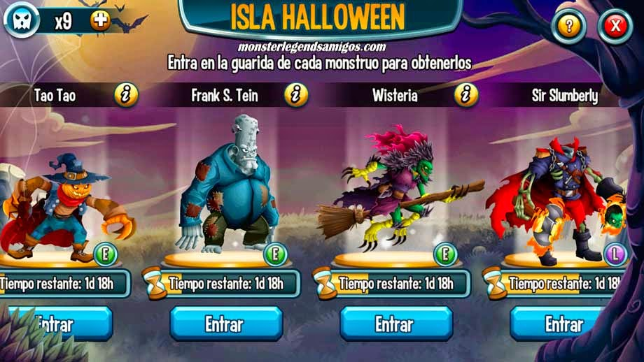 imagen de los monstruos y guaridas de la isla halloween de monster legends