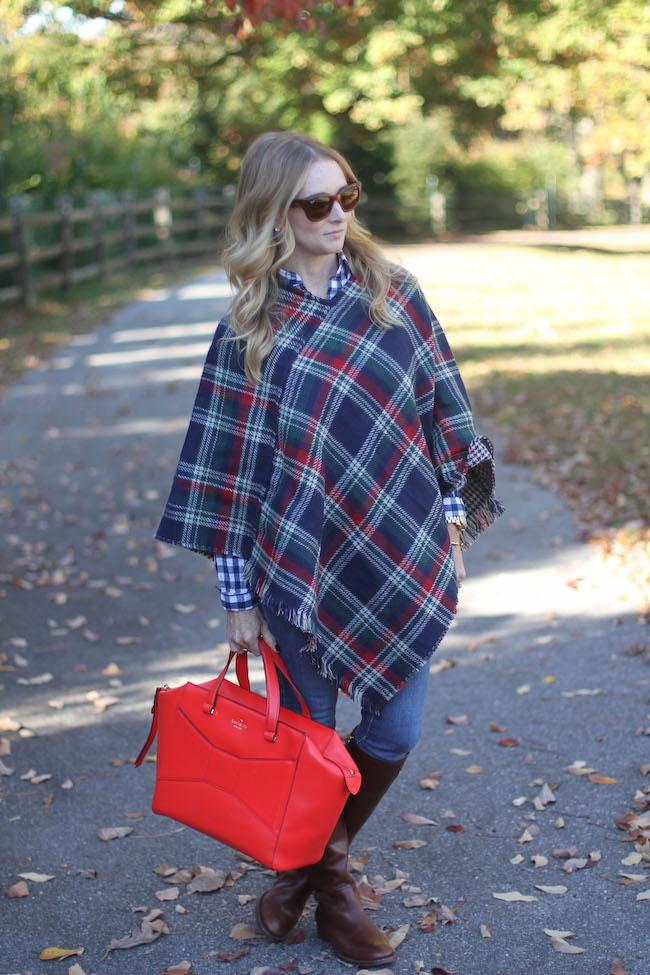 plaid cape, kate spade bag, tory burch boots, ray ban sunglasses
