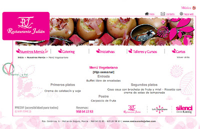 Captura de pantalla de la Web del Restaurante Julián.