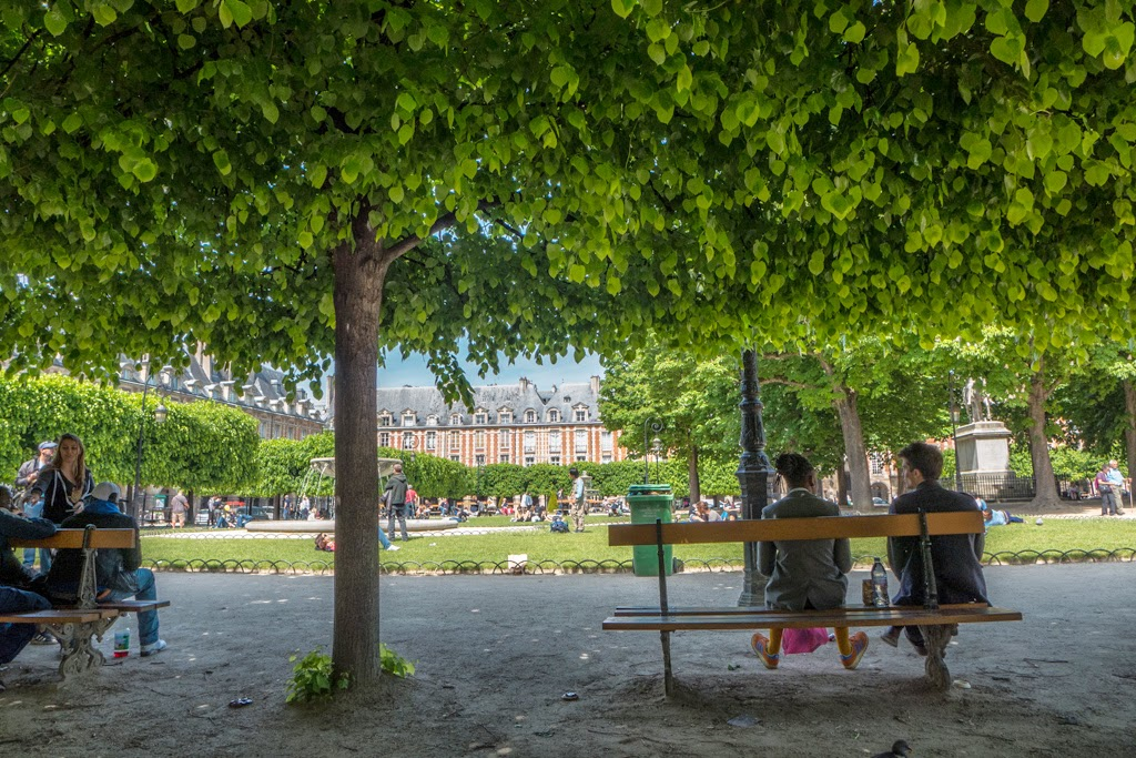 Paris France garden Place des Vosges in the Marais area